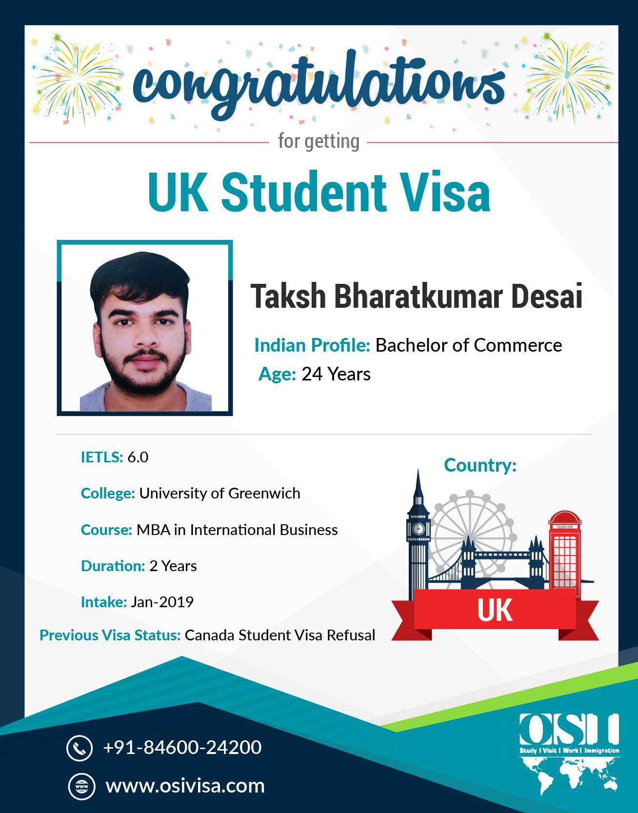 One Of Our Visa Aspirants For The Usa Did Get Admission In University Of Greenwich For Mba Prog University Of Greenwich Bachelor Of Commerce Overseas Education
