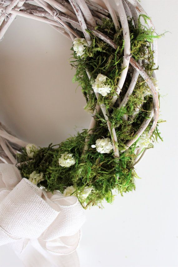 White Greenery Grapevine Wedding Wreath Enchanted Forest Moss
