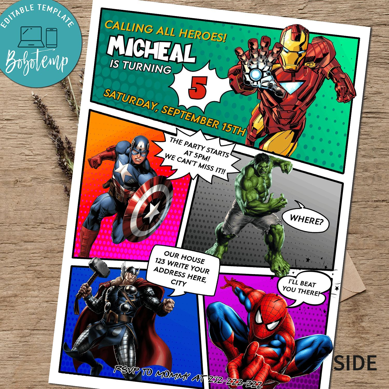 calling all avengers comic birthday party invitation