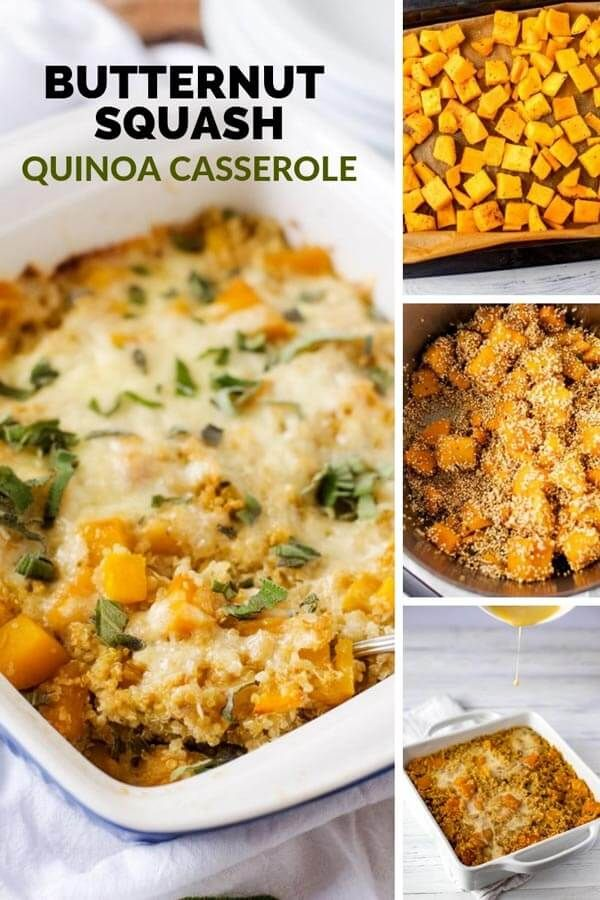 Butternut Squash Casserole with Quinoa This Butternut Squash Casserole with Quinoa is a healthy vegetarian casserole that is perfect for holidays, but easy enough for a weeknight meal. This cheesy baked casserole is comfort food the whole family will love.