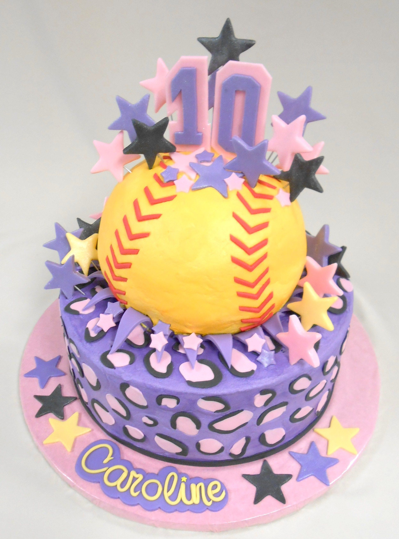 Custom Softball Cake With Fondant Detailing Happy 10th Birthday