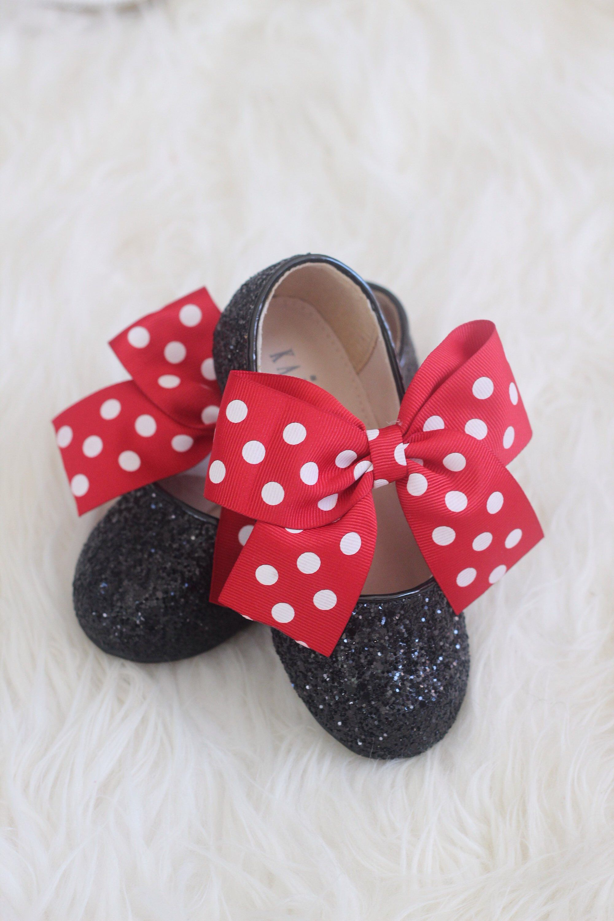 b0c992d4884c5 MICKEY MOUSE Shoes- Black Rock Glitter mary-jane with Red Polka Dot ribbon  bow