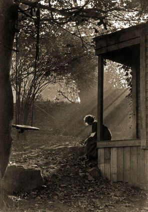 "One of Seattle's seven hills, First Hill was Seattle's ""first"" neighborhood. Photographer Imogen Cunningham evokes the rural nature of her small residence on Terry Avenue, ca. 1910. The title of the photo is alternately referred to as ""In Moonlight"" and ""In Sunlight."""