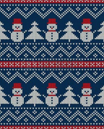 Winter Holiday Seamless Knitted Pattern With Snowman And Christmas..