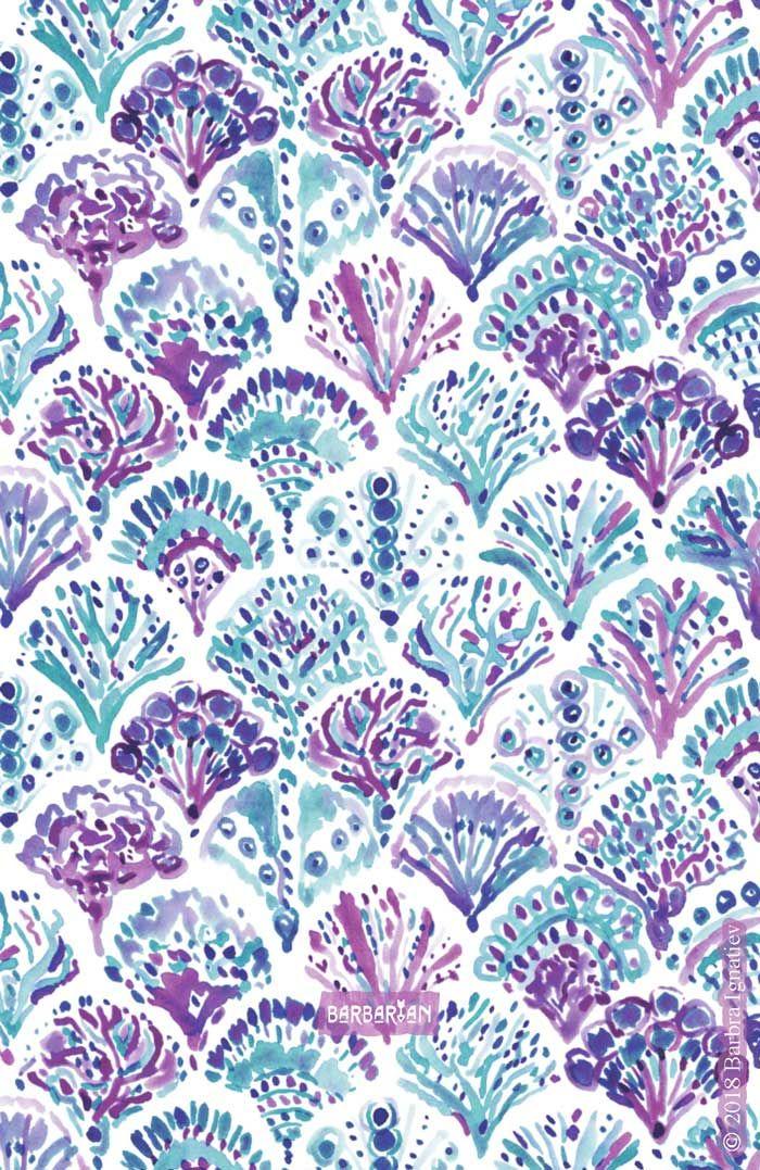 CORAL CAMO Mystical Purple Mermaid Scales – BARBARIAN by Barbra Ignatiev | Bold colorful art