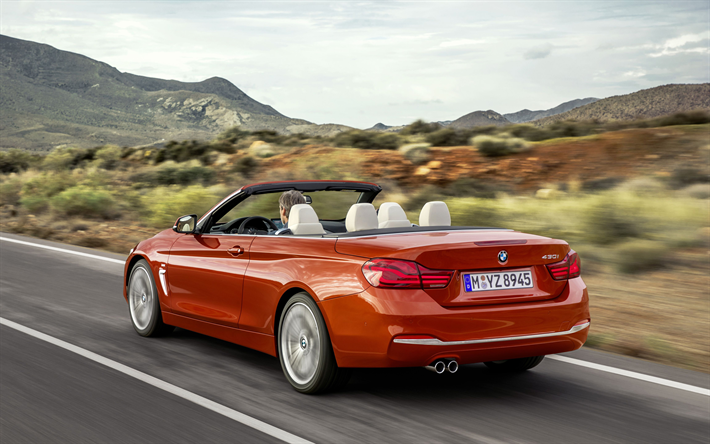 Download Wallpapers Bmw 430i Convertible 2018 Rear View Luxury Convertible New Orange M4 Convertible German Cars Bmw Besthqwallpapers Com In 2020 Bmw Cars Uk Convertible