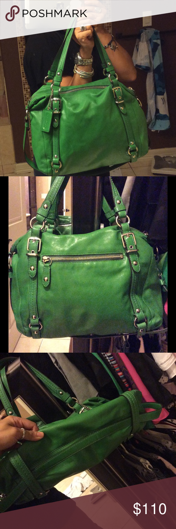 Apple Green Coach Leather Handbag Gently Used Apple Green Leather Zippered Handbag. Comes with Cross Body Strap as Well. Coach Bags Satchels