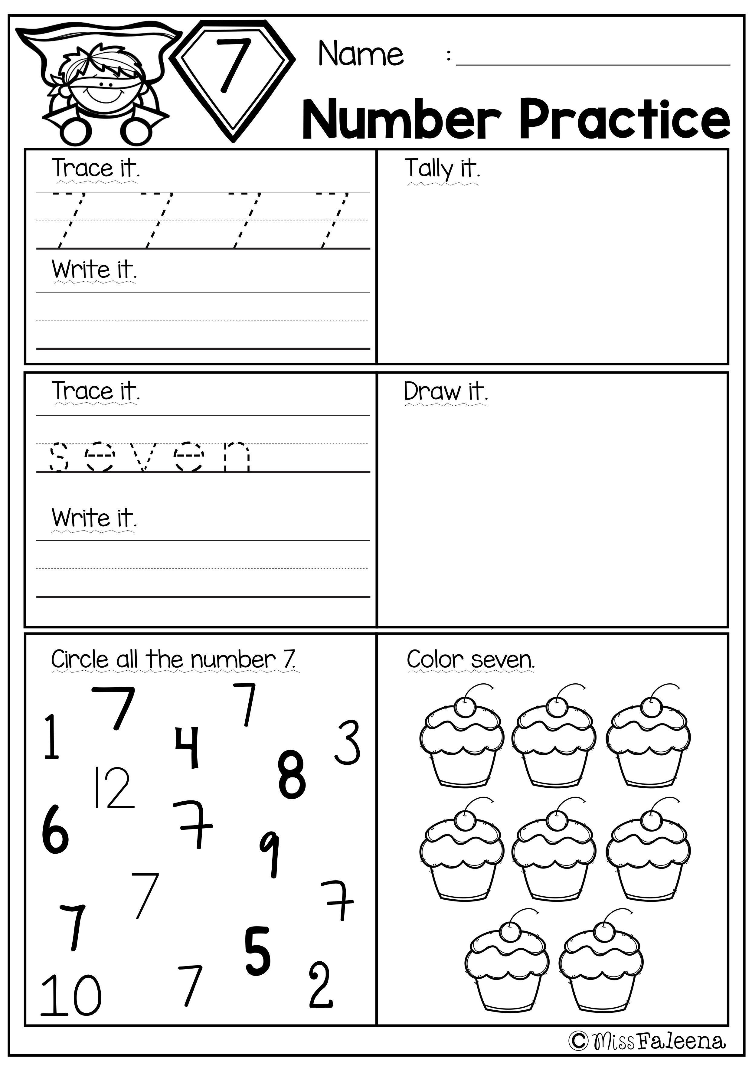 Free Number Practice Kindergarten math worksheets, Math