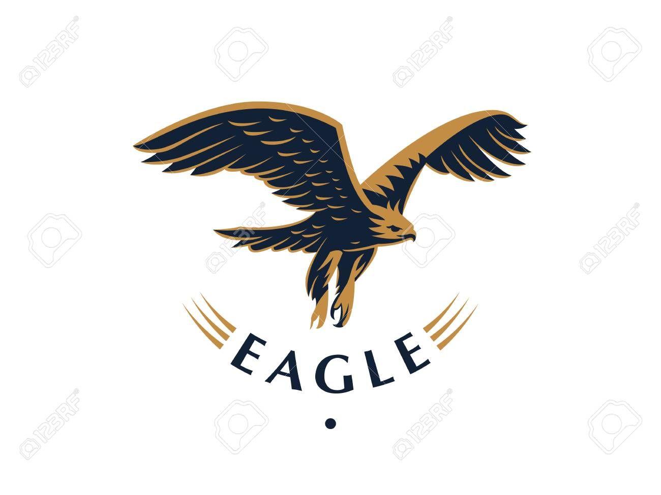 The Flying Eagle Hawk Bird Logo Vector Emblem Sponsored Hawk Eagle Flying Bird Emblem In 2020 Card Design Business Advertising Design Card Templates