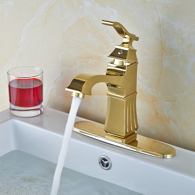 68.93$  Watch here - http://alib45.worldwells.pw/go.php?t=32783620547 - Free Shipping Golden Deck Mount Bathroom Vanity Sink Faucet Single Handle Basin Hot Cold Mixer Tap + Decorate Cover Plate