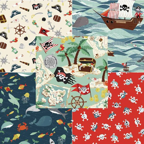 Ahoy me Hearties! Batten down the hatches and get sewing with the fabulous new Pirate group from Henley Studio. Ships, fishes and buried treasures, little boys love Pirates and this striking collection of designs is perfect for bedrooms, accessories or clothing. From bandanas to quilts the options are endless including a pirate bunting and a pirate panel!