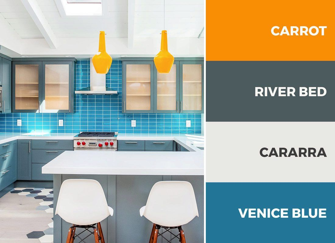 A Blue And Orange Kitchen Color Scheme Is Eye Catching And