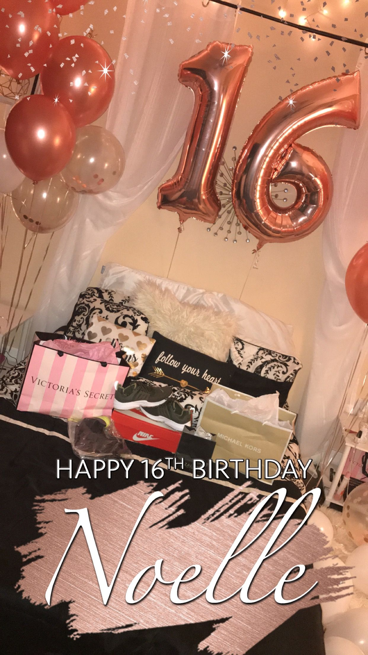 Balloons Gifts And Snapchat Filter Birthday Surprise For Sweet 16 Happy 16th Birthday 16th Birthday Party 16th Birthday