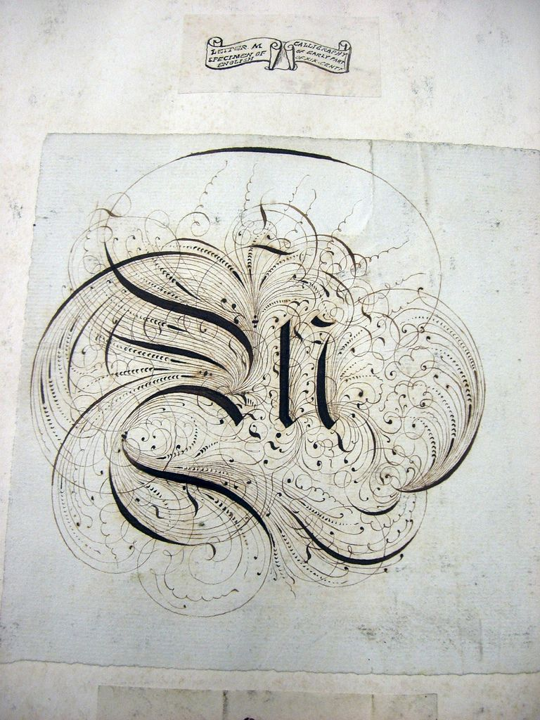 this flourished fraktur capital letter m was pasted into a sketchbook of romantic and medial lettering traces copies that some wonderful british