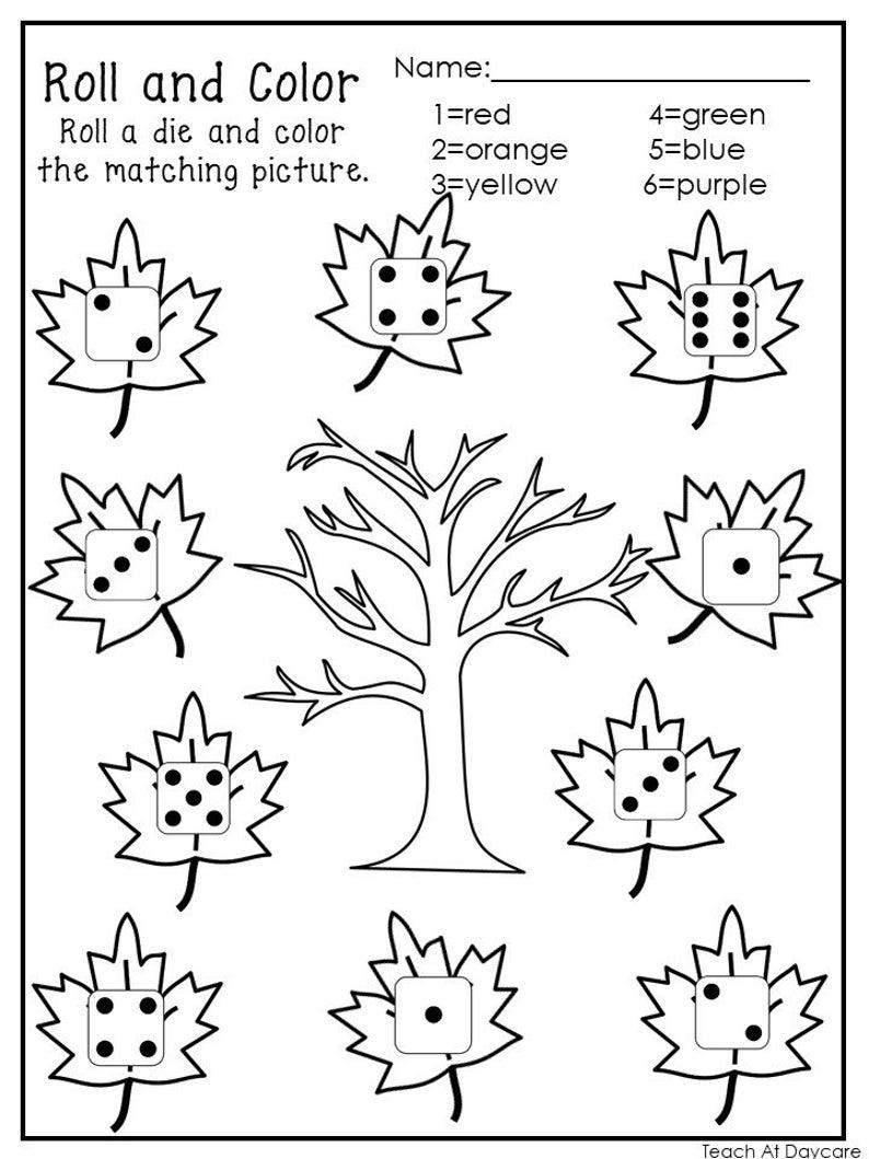 20 Printable Roll And Color Worksheets Numbers 1 6 Preschool Kindergarten Numbers And Math Color Worksheets Fall Preschool Worksheets Color Worksheets For Preschool [ 1059 x 794 Pixel ]
