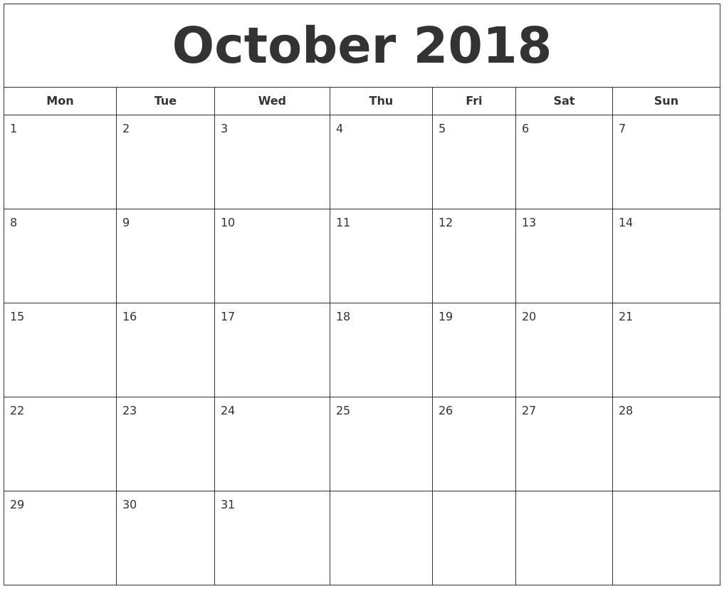 calendar 2018 october pdf printable
