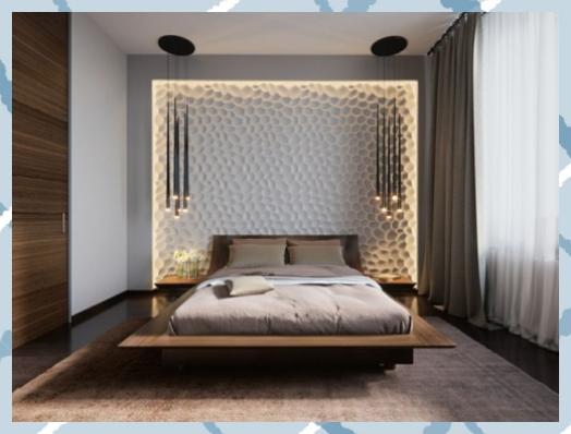 Beleuchtung im Schlafzimmer mit 3D Wandpaneele und Pendelleuchten von Svetlana N... - Pinmenzilyolu #Beleuchtung #mit #Pendelleuchten #Pinmenzilyolu #Schlafzimmer #Svetlana #und #von #Wandpaneele