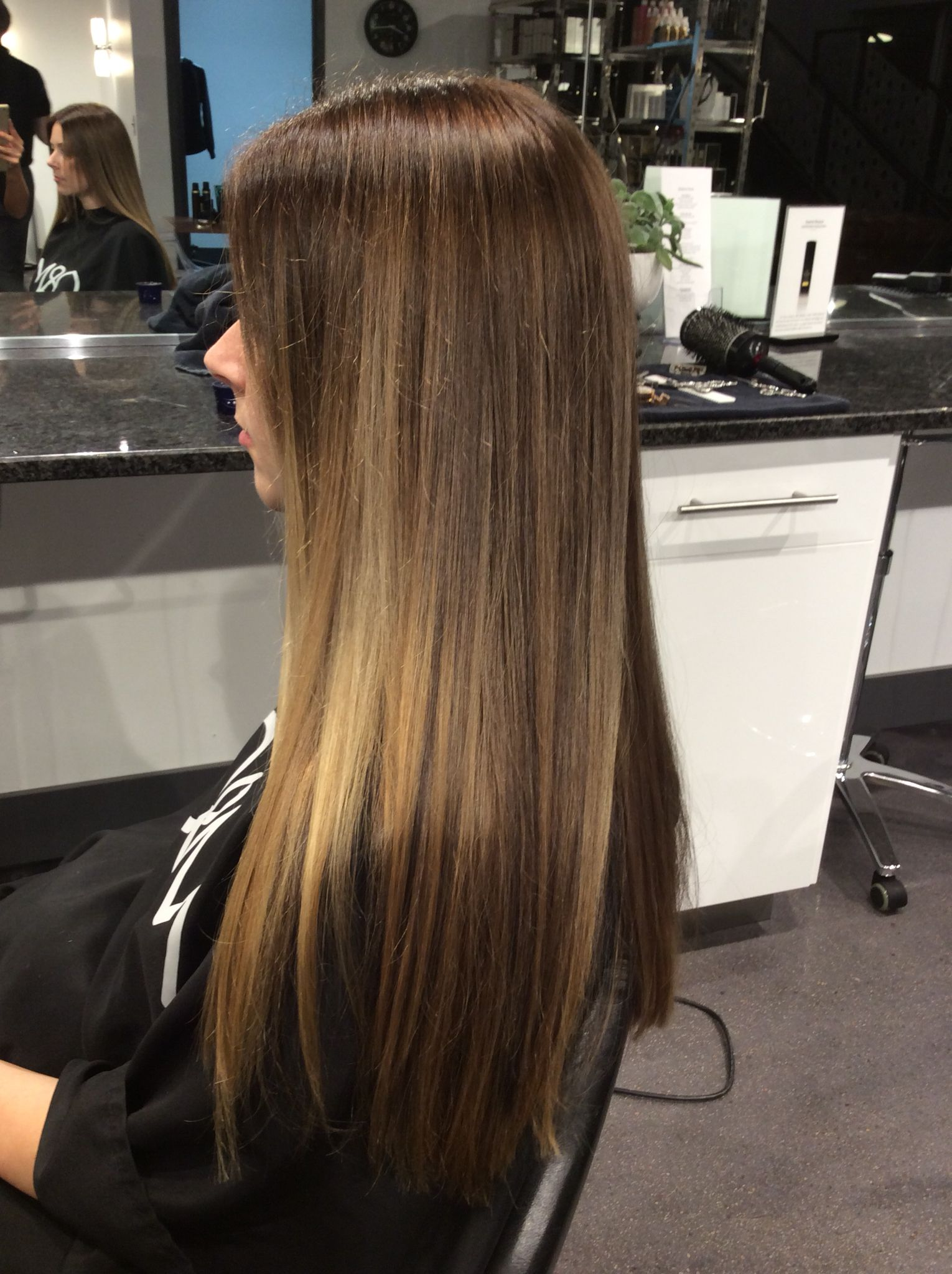 Bayalage With Caramel Pieces On Long Straight Hair Straight Hairstyles Long Hair Color Stylish Hair