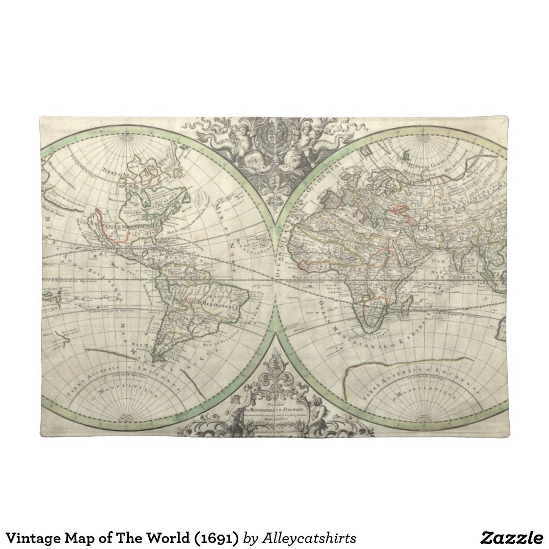 Vintage Map of The World (1691) Placemat
