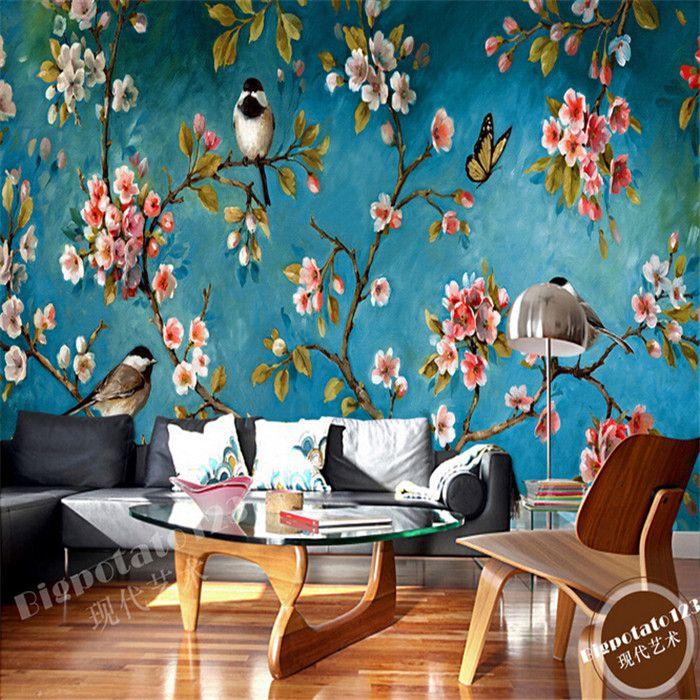 Free Shipping European Style Living Room Sofa Mural Wallpaper Plum Tree Flower And Bird Painting Background Wallpaper In Wall Mural Wallpaper Mural Wall Murals
