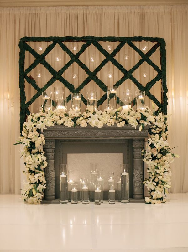 White Floral Garland on Mantel Ceremony Decor   Floral ...