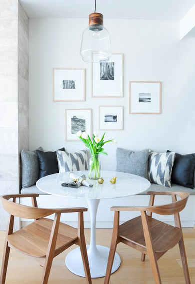 Astounding Dining Nook Ideas Love The Built In Bench White Round Caraccident5 Cool Chair Designs And Ideas Caraccident5Info