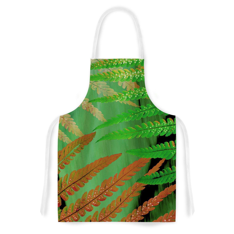 "Alison Coxon ""Forest Fern Russet"" Green Brown Artistic Apron"