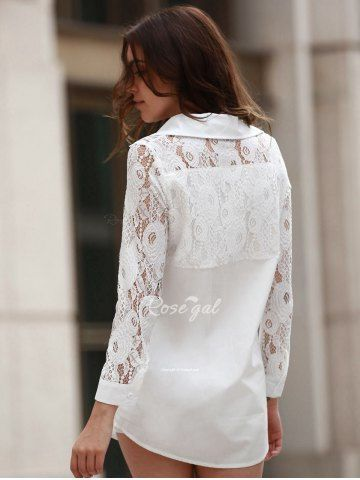 Long Sleeve Lace Shirt - WHITE 2XL Mobile