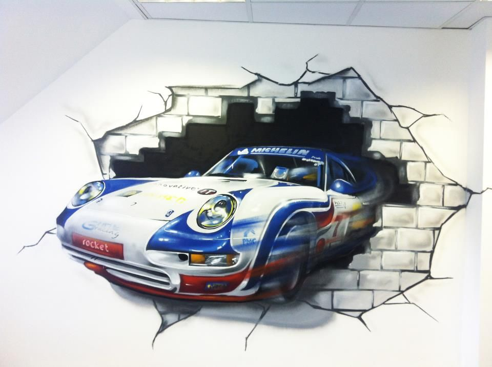 Client:Innovative ITu0027s Office  Corporate Graffiti Mural   Hand Painted  Porsche Rally Car Design Graffiti