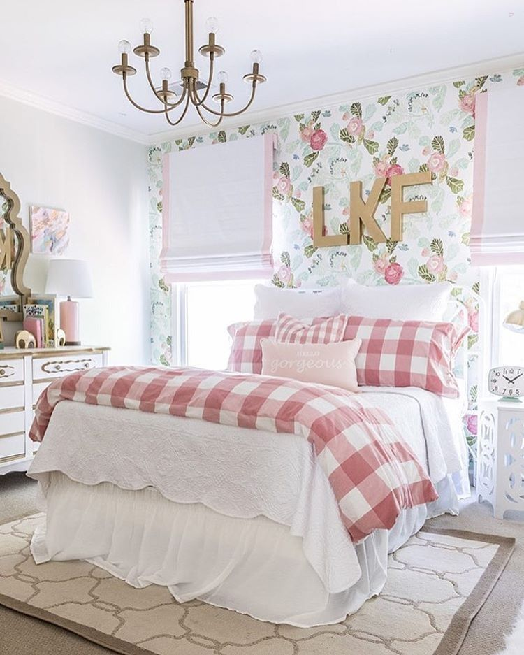 Big girl room reveal with floral wallpaper