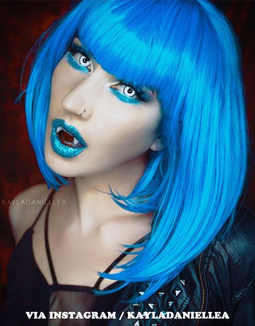 12 Halloween Makeup Looks For Blue Hair