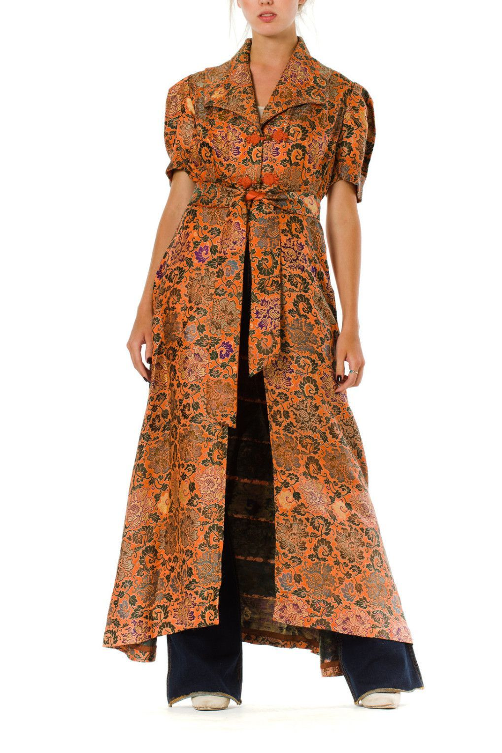 1940s Chinese Silk Jacquard Duster with Belt