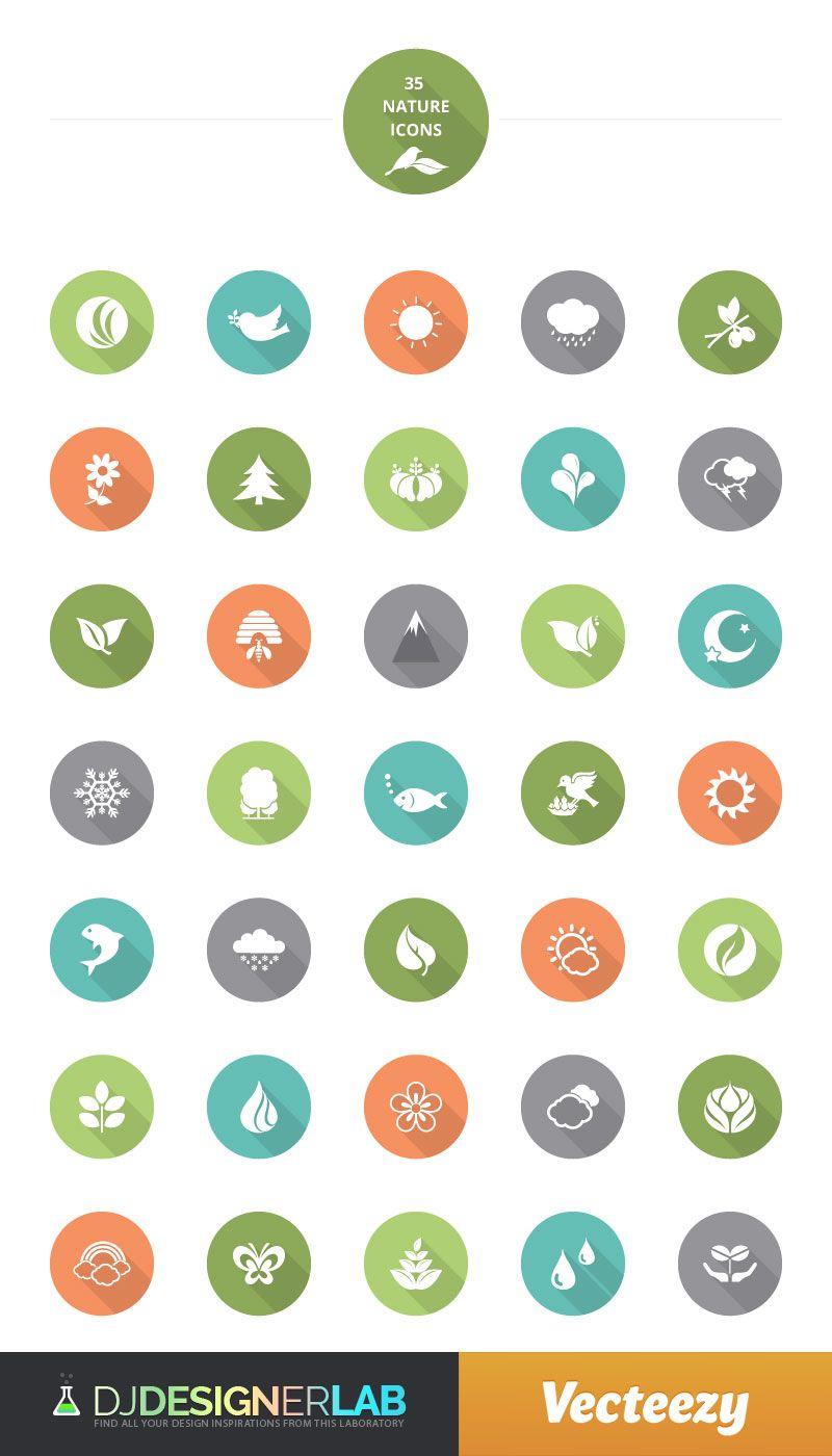 Flat Colorful Nature Free Vector Icon Set | UX / UI Design