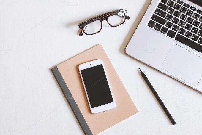 Flat Lay Photo Of Office Desk With Laptop Smartphone