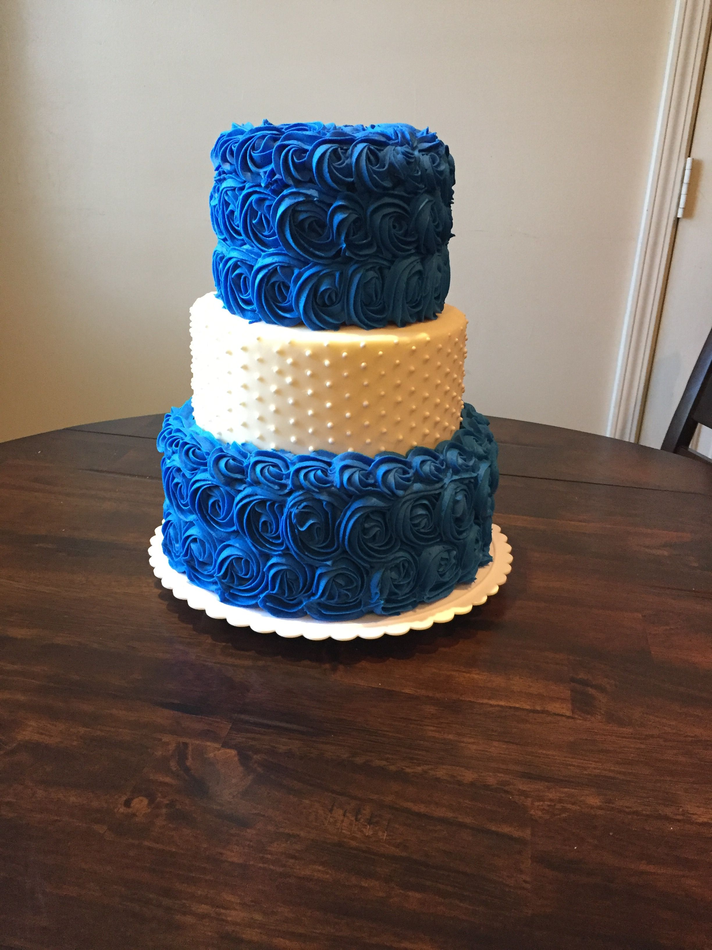 Royal Blue And White Rosette And Pearl Wedding Cake