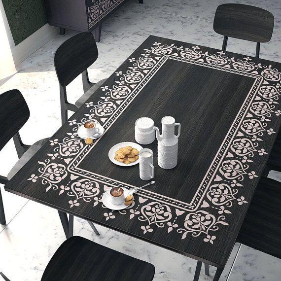 pochoir pochoir stencil unique pour meubles decor. Black Bedroom Furniture Sets. Home Design Ideas