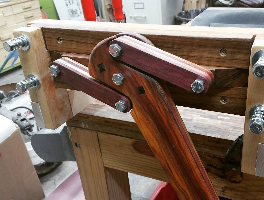 Bench vise is looking good. Woodworking bench plans