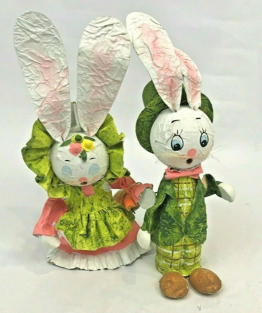 Details About Vintage Easter Bunny Paper Mache Rabbit Figures