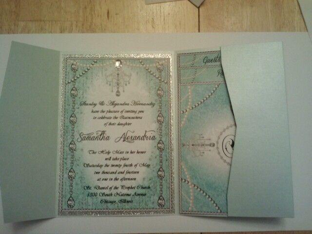 crystal diamond quinceanera invite. Digital print embellished invitation.