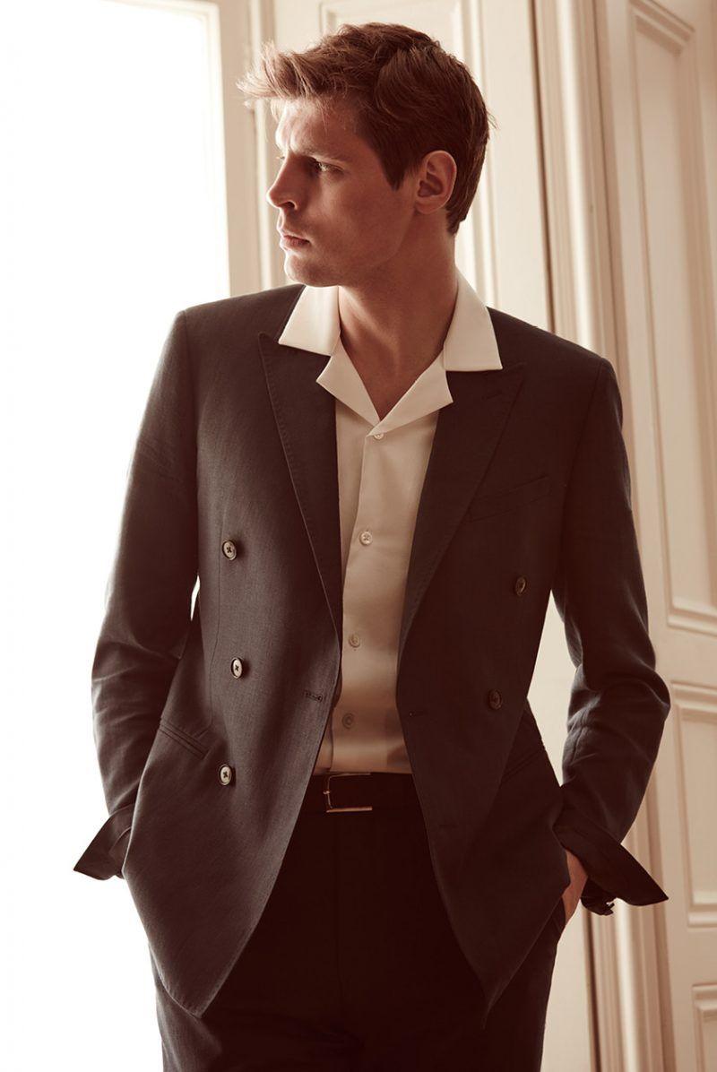 At First Light: Reiss Spotlights Summer Tailoring   Collar shirt men, Cuban shirts, Mens editorial