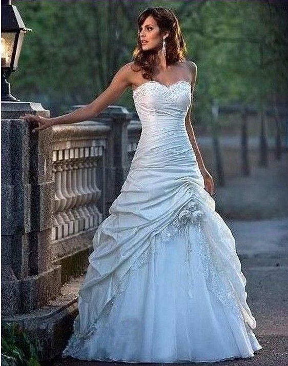 Stock Ivory White Taffeta Wedding Dresses Bride Gown Size 6 8 10