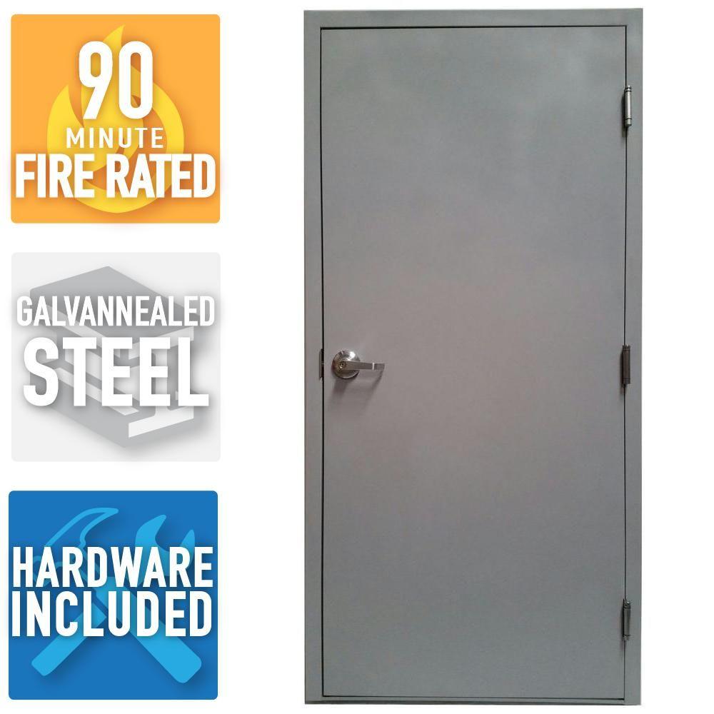 Armor Door 36 In X 80 In Fire Rated Gray Left Hand Flush