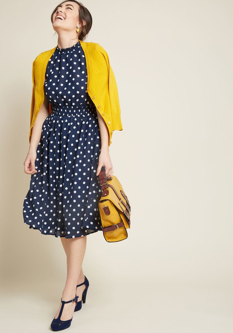 Savor the Occasion A-Line Dress in Dotted Blue   ModCloth   my ... 3f72c92ac5