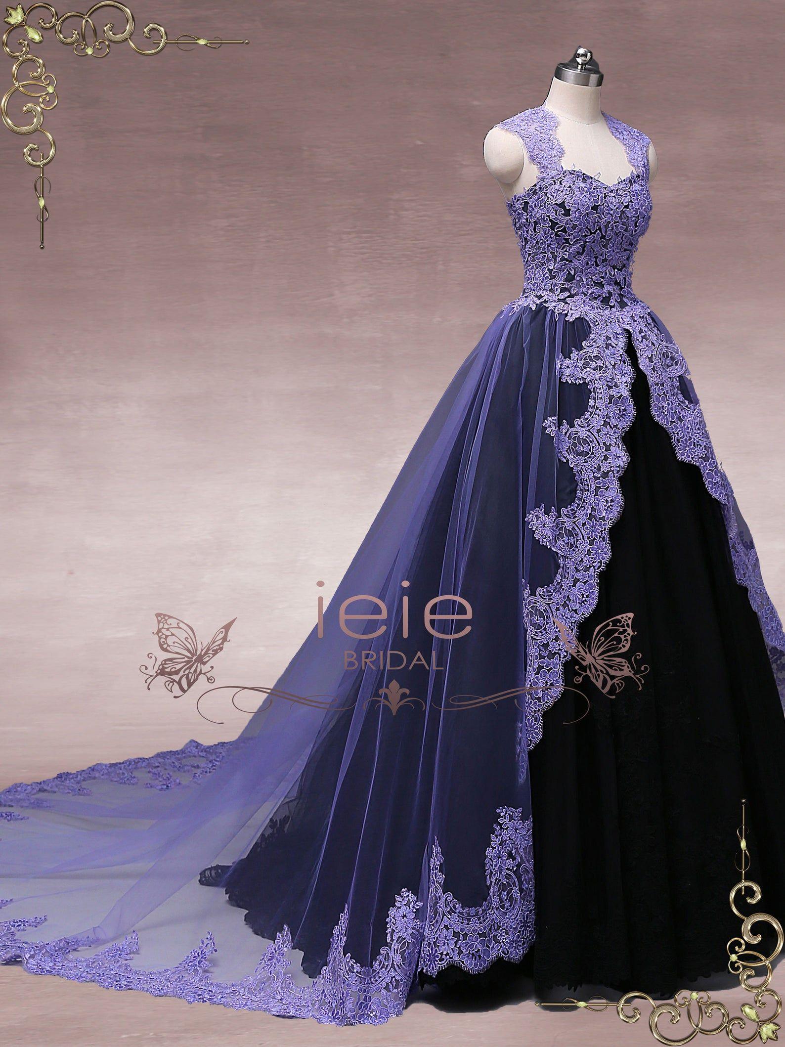 Unique Purple Black Ball Gown Wedding Dress Halloween Wedding Etsy Black Ball Gown Ball Gowns Ball Gowns Wedding [ 2118 x 1588 Pixel ]