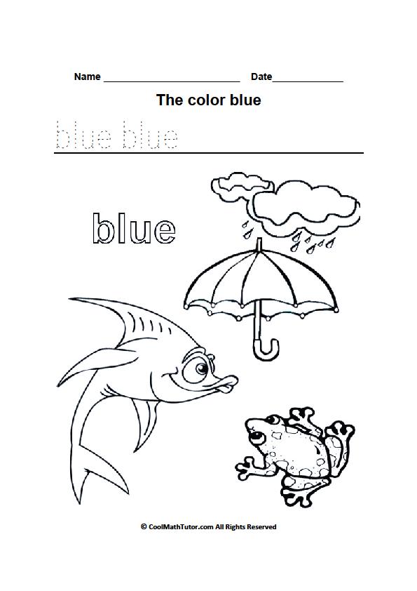 printable blue color worksheet preschool colors color
