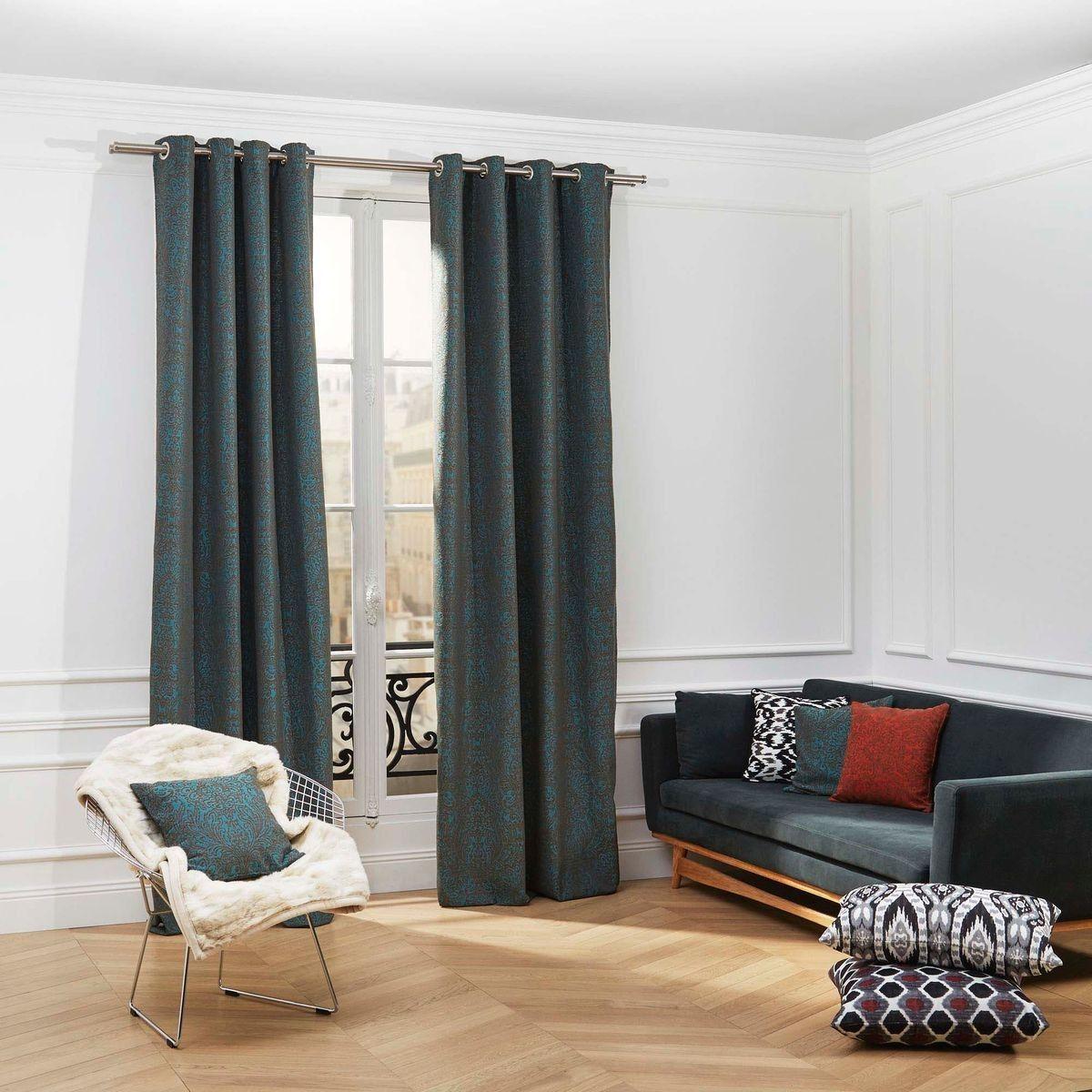 Rideau A Oeillets Polyester Anita Bleu Et Naturel Taille 133x280 Cm Rideaux Oeillets Rideaux Sombres Rideaux