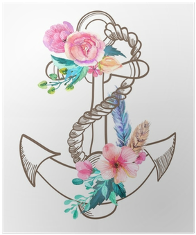 Open full size Doodle Anchor With Watercolor Flowers And