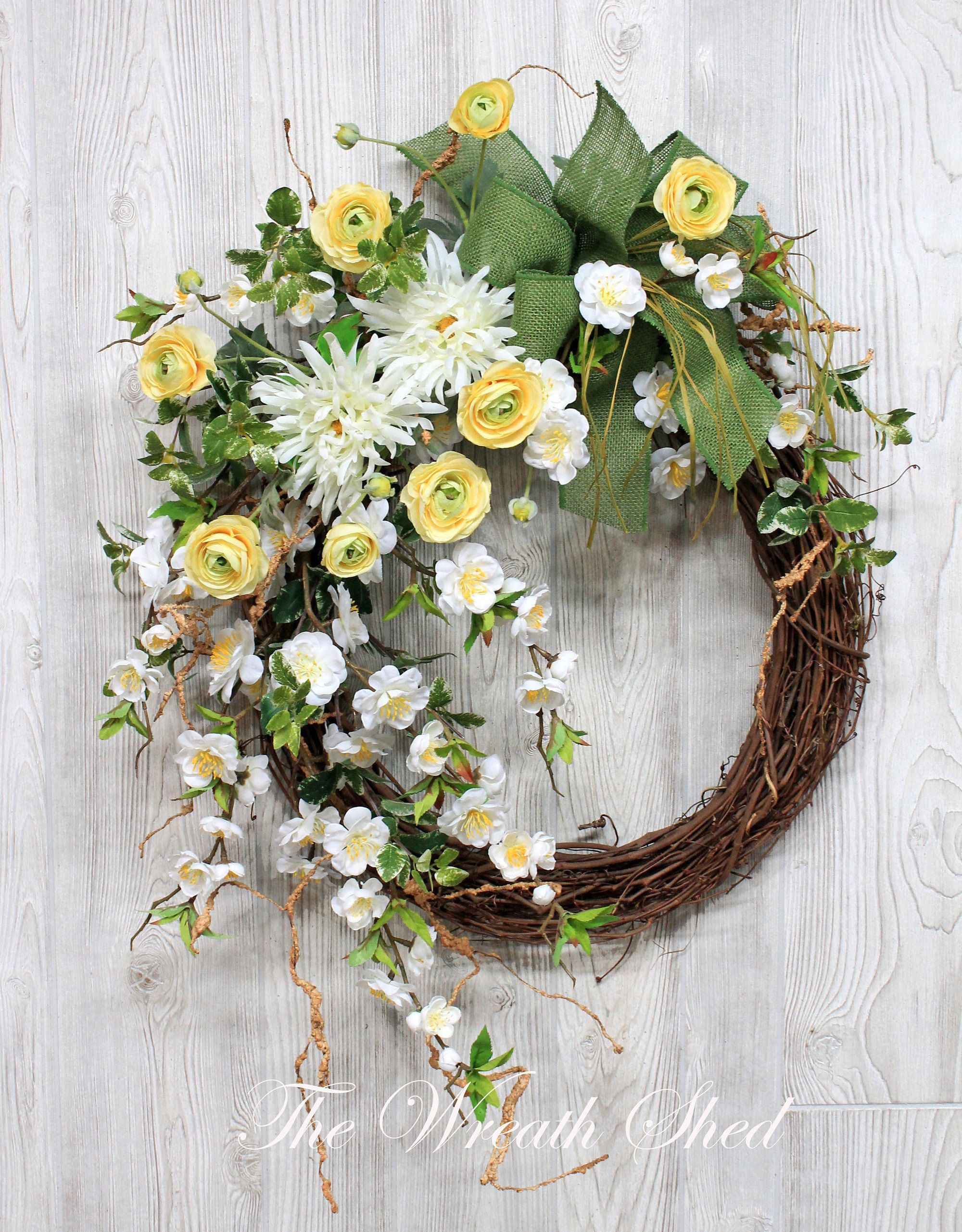 flower how front wreath for pinterest grapevine sunflower door spring wreaths summer a outdoor house bird to design home doors make diy inspirations ideas silk beautiful