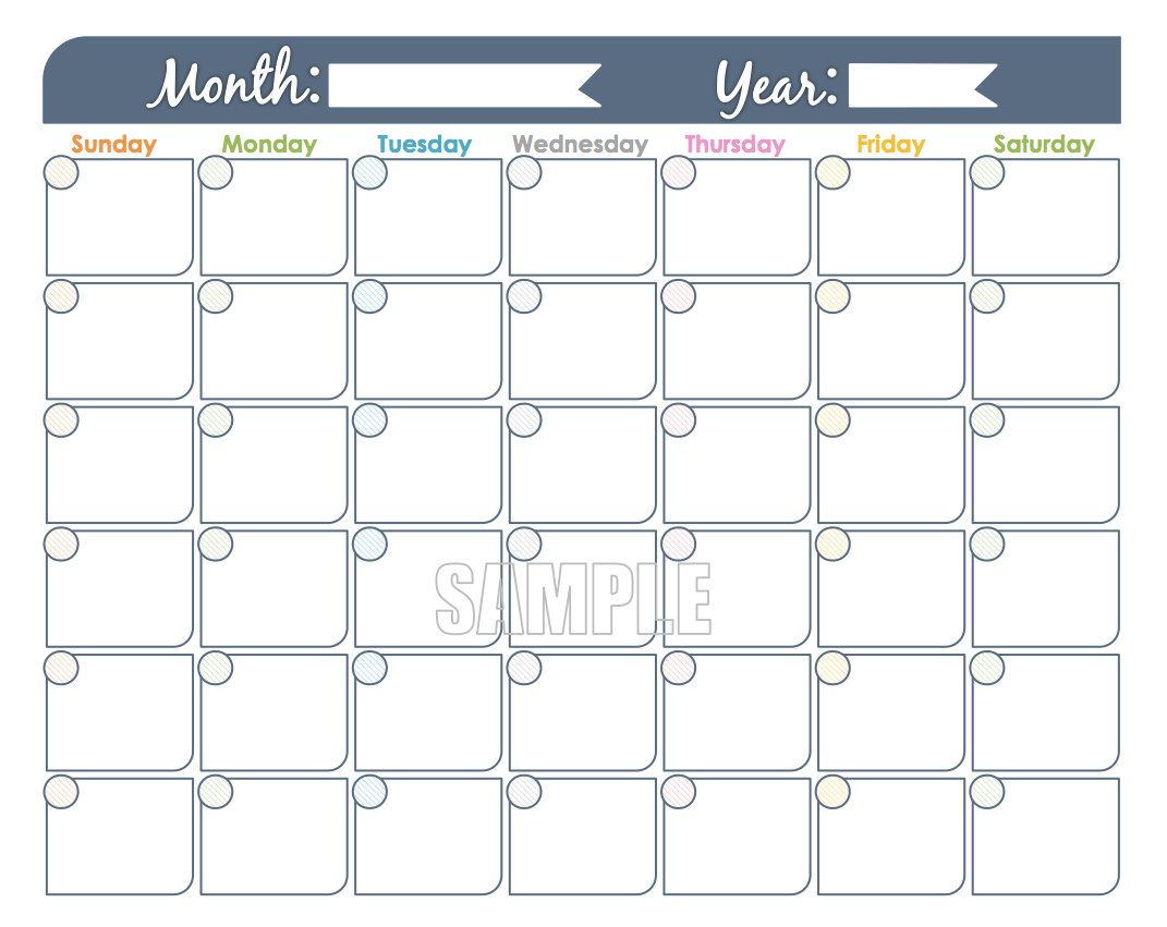 Monthly Calendar Printable Undated Fillable Family Calendar