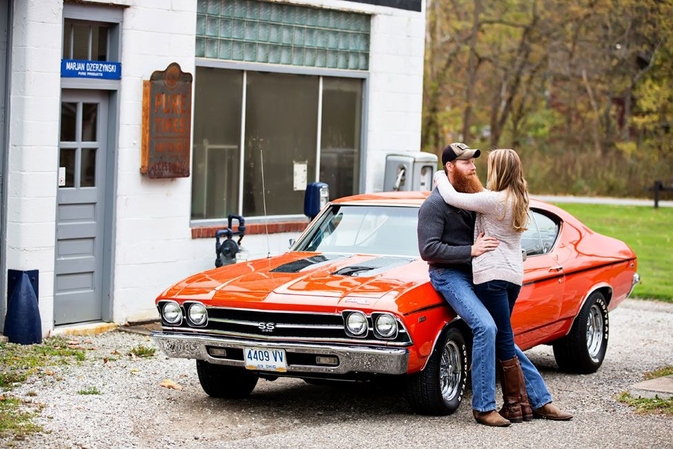 Muscle Cars Vintage Gas Stations In This Brawny Engagement